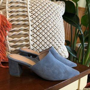 Taryn Rose Madison Suede Heeled Mules, Blue, 9